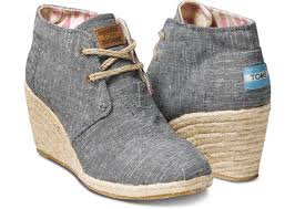 toms black chambray desert wedge
